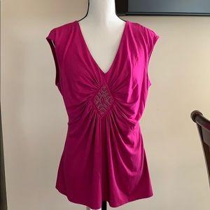 WHBM Pink Sleeveless Embellished Top EUC